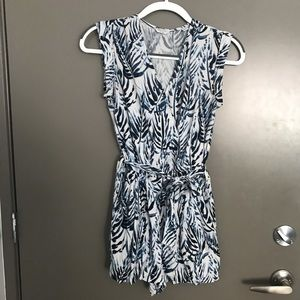 Blue and white printed playsuit